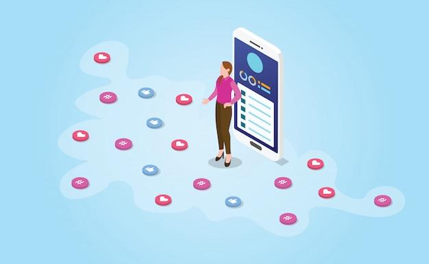 Influencerfrau mit dem social media, das mit moderner isometrischer art verbreitet -