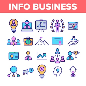 Info business collection elemente icons set