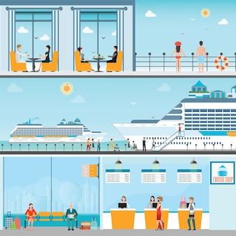 Info des kreuzfahrtschiffterminals am seehafen mit festgemachtem transatlantischem zwischenschiff