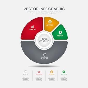 Info-grafik-design-vorlage 4 schritte