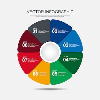 Info-grafik-design-vorlage 8 schritte
