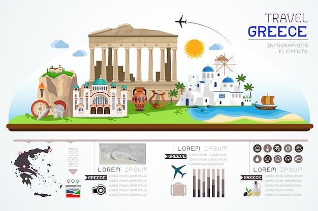 Info-grafiken reisen und sehenswürdigkeiten von griechenland