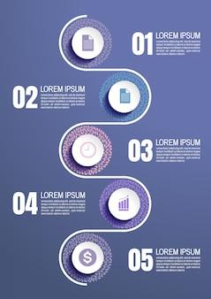 Infografic vorlage mit 5 schritten