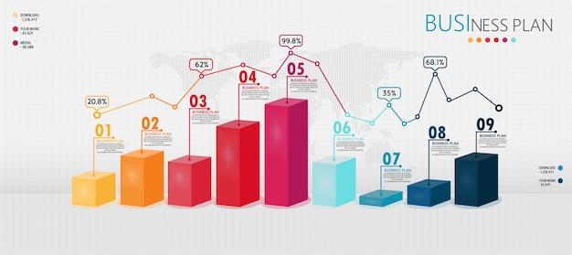 Infografik 3d-elemente oder diagramme von bildungsunternehmen können im lehr- und lernschritt verwendet werden.