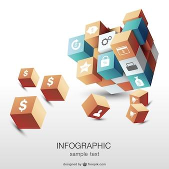 Infografik 3d kubisch-vorlage