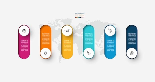 Infografik 3d lange kreis beschriftung, infografik mit nummer 6 optionen prozesse.