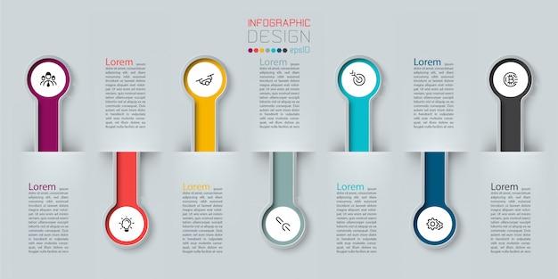 Infografik 3d lange kreis beschriftung, infografik mit nummer 7 optionen prozesse.