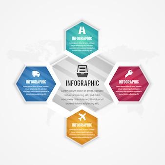 Infografik 3d-sechsecke