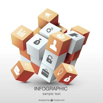 Infografik 3d-würfel-design