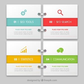 Infografik als notizbuch Kostenlosen Vektoren