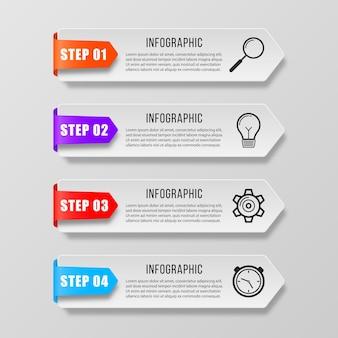 Infografik-banner beschriften tag-präsentationen marketingsymbole für workflow-layout-diagramm