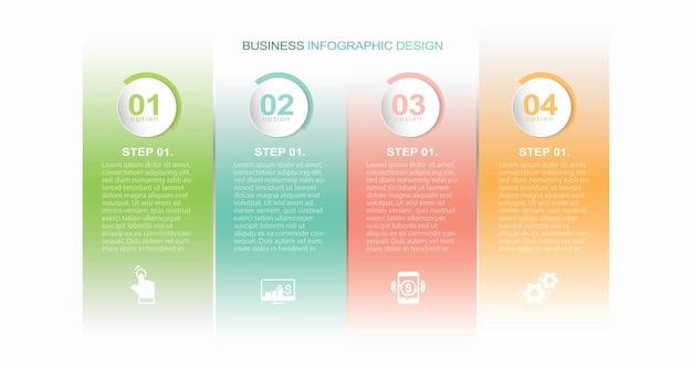 Infografik-banner mit 4 kreisen und registerkarten stock illustration infografik nummer 4 schritte