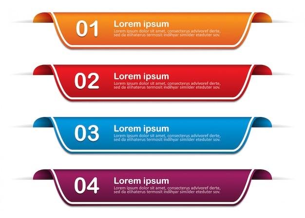 Infografik-banner mit 4 optionen, schritte. vorlage. illustration