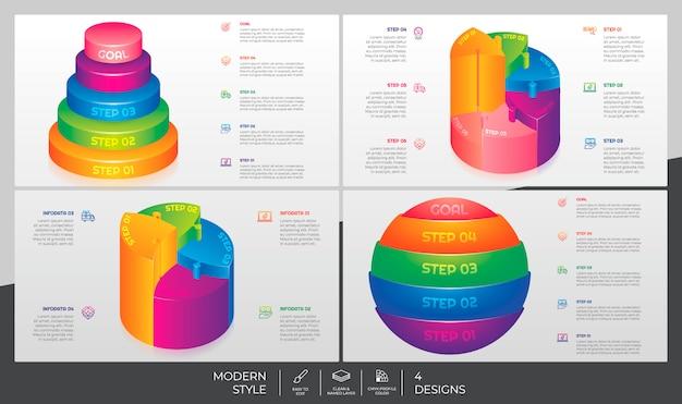 Infografik-bundle-set mit 3d-stil und buntem konzept für präsentationszwecke, geschäft und marketing.