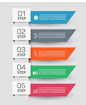 Infografik business banner vorlage design mit 5 schritten