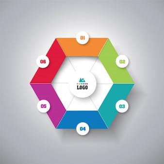 Infografik-business-konzept mit 6 optionen.