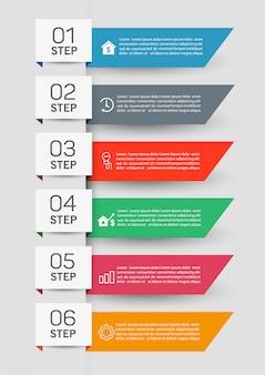 Infografik business template design mit 6 schritten
