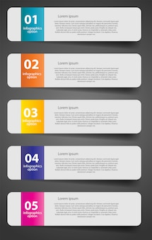 Infografik business template mit fünf schritten