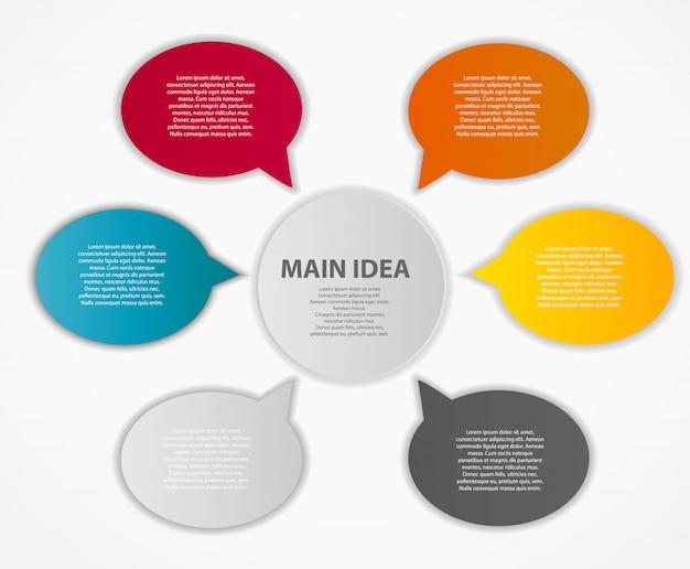Infografik business template mit sechs elementen
