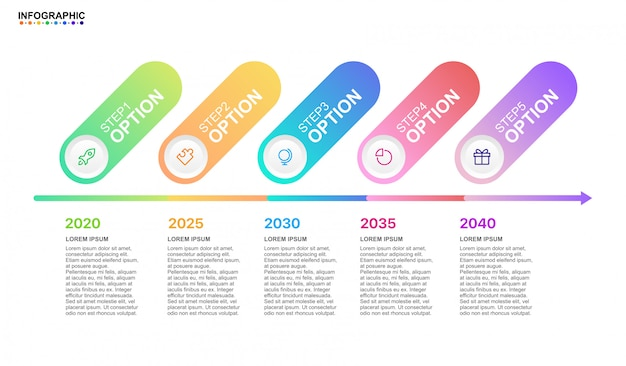 Infografik business timeline 5-schritt-option mit modernen elementen