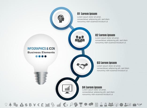 Infografik business timeline prozess und symbole vorlage. design mit glühbirne, idae marketing.