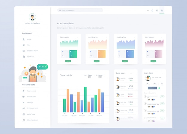 Infografik dashboard panel-vorlage für ui ux-design
