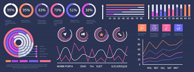 Infografik-dashboard. schnittstellenpräsentationselemente gesetzt