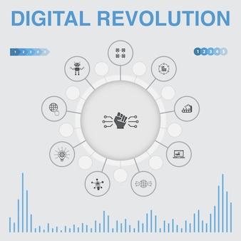 Infografik der digitalen revolution mit symbolen. enthält symbole wie internet, blockchain, innovation, industrie 4.0