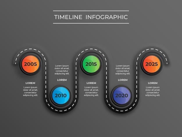 Infografik der dunklen themenstraßenkarte mit farbverlaufsfarben kreisen premium-vektor ein