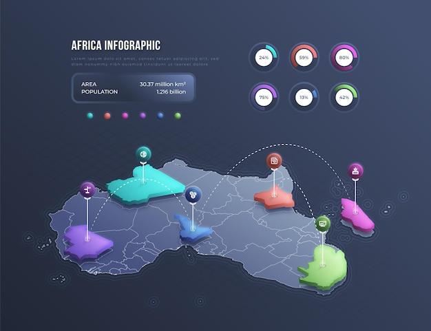 Infografik der isometrischen afrika-karte