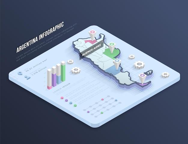 Infografik der isometrischen argentinienkarte