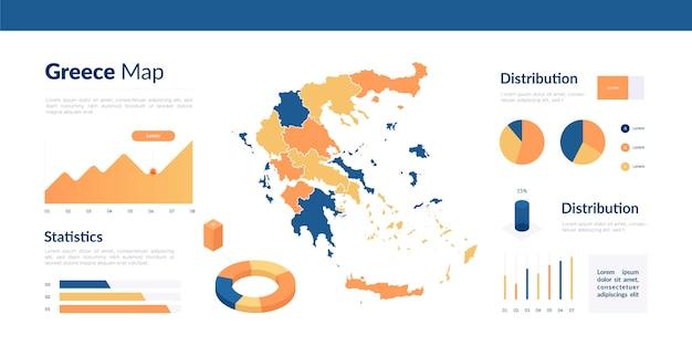 Infografik der isometrischen grece-karte