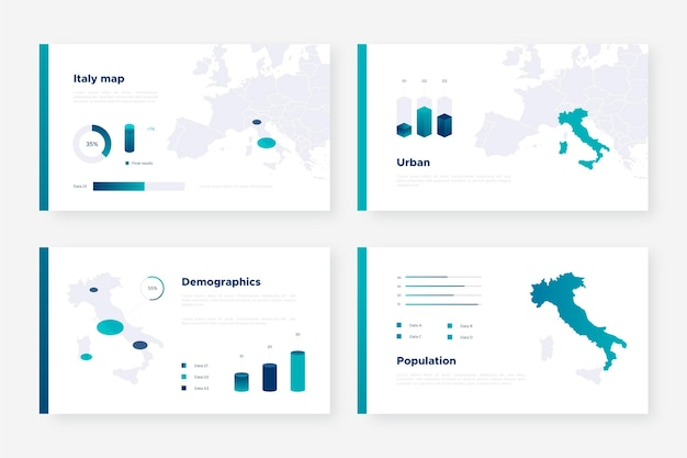 Infografik der isometrischen italienkarte