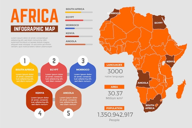 Infografik der karte des flachen entwurfs afrikas