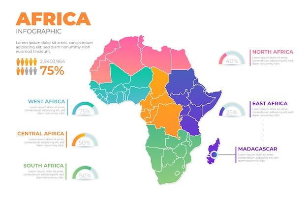 Infografik der karte mit farbverlauf in afrika