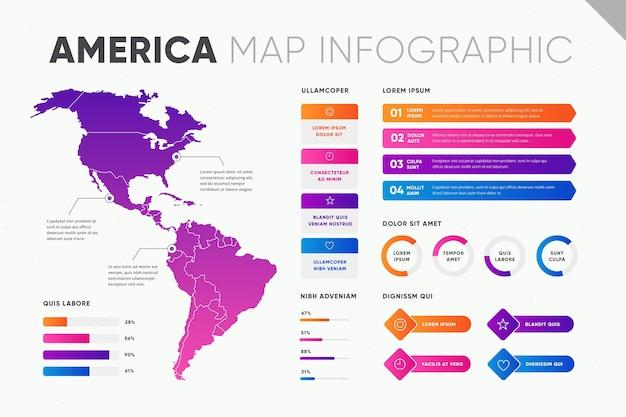 Infografik der karte mit farbverlauf in amerika
