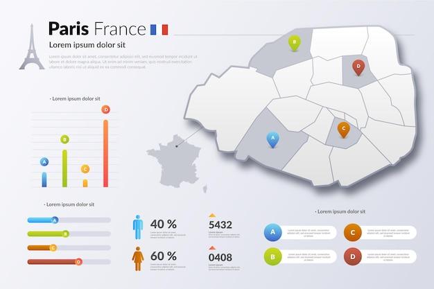 Infografik der pariser frankreich-farbverlaufskarte