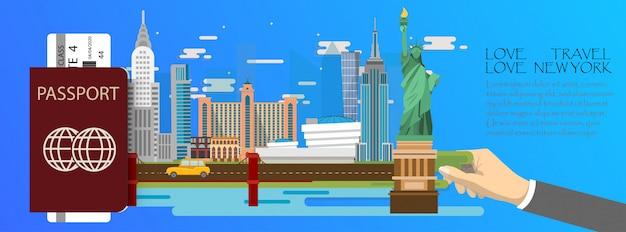 Infografik der reise new york