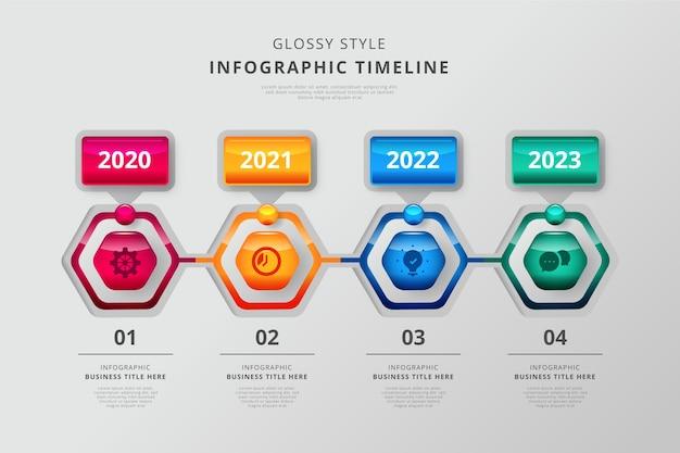 Infografik der zeitleiste der glänzenden vorlage