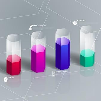 Infografik des glänzenden 3d-designs