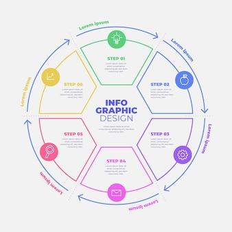 Infografik des linearen flachen kreisdiagramms