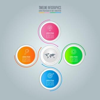 Infografik-design-business-konzept mit 4 optionen.