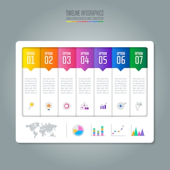 Infografik-design-business-konzept mit 7 optionen.