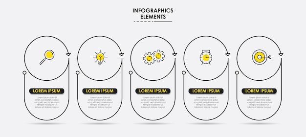 Infografik-design-business-vorlage mit symbolen und 5 fünf optionen oder schritten