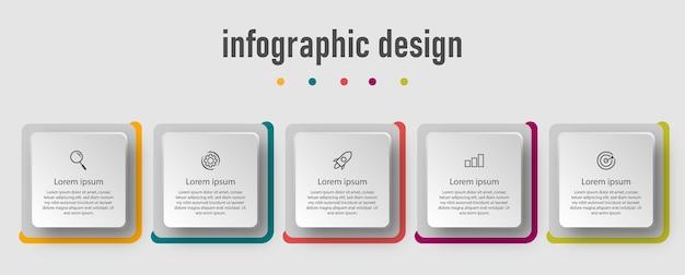 Infografik-design für geschäftsvorlagen mit 5 optionen. s