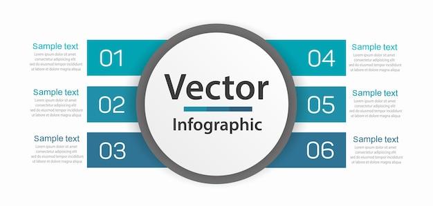 Infografik-design-geschäftsvorlage mit 6 optionen oder schritten