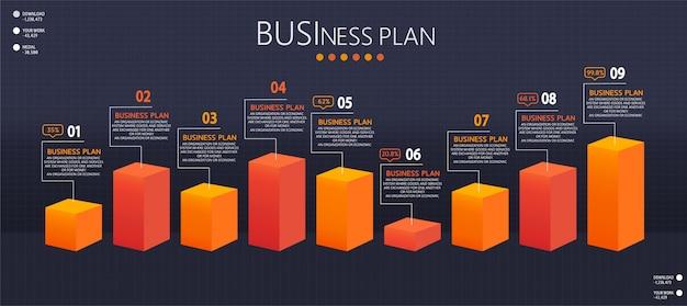 Infografik design illustration für moderne prozesse in form von präsentationen, bannern, grafiken, geschäfts- und bildungsanwendungen