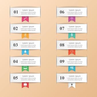 Infografik-design. liste von 10 elementen.