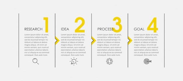 Infografik-design mit dünnen linien mit symbolen und 4 optionen oder schritten. infografiken für geschäftskonzept.