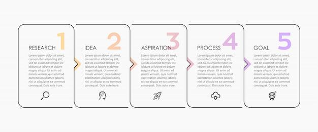 Infografik-design mit dünnen linien mit symbolen und 5 optionen oder schritten. infografiken für geschäftskonzept.